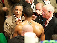 Picture by Alan Stanford/Focus Images Ltd +44 7915 056117<br /> 14/11/2013<br /> Anthony Joshua is given some advice after his win by former boxer Michael Watson  at York Hall, Bethnal Green.