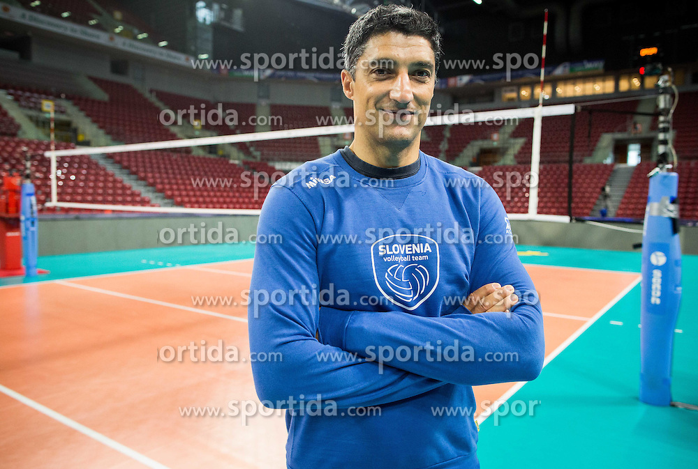 Andrea Giani, head coach during practice session of Slovenian National Volleyball team in the morning before Semifinal match against Italy at 2015 CEV Volleyball European Championship - Men, on October 17, 2015 in Arena Armeec, Sofia, Bulgaria. Photo by Vid Ponikvar / Sportida
