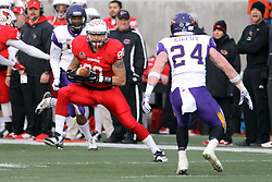 06 December 2014:  Normal Illinois.  James O'Shaughnessy stutter steps looking to fool Tim Kilfoy (DB)    during a 1st round FCS NCAA football game between the Panthers of Northern Iowa and the Redbirds of Illinois State in Hancock Stadium.  Illinois State won the game 41-21.