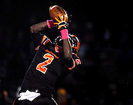 28 Oct. 2011 -- WEBSTER GROVES, Mo. -- Webster Groves High School wide receiver AJ Farrar (2) leaps in a failed effort to catch a pass during Webster's game with Parkway North High School at Moss Field in Wester Groves, Mo. Friday, Oct. 28, 2011. Photo © copyright 2011 Sid Hastings.
