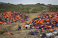 refugee life jackets dump on Lesvos