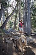 Woman and dog (golden retreiver) hiking in Eldorado National Forest, California