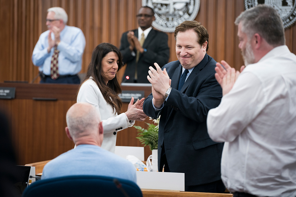 Alders applaud the service of Mark Clear, Alder District 19, before the swearing in ceremony for Satya Rhodes-Conway and newly elected Alders at the City County Building in Madison, WI on Tuesday, April 16, 2019.