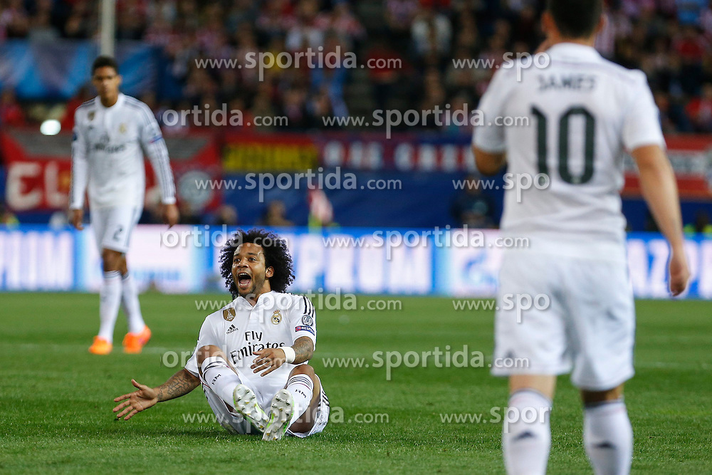 14.04.2015, Estadio Vicente Calderon, Madrid, ESP, UEFA CL, Atletico Madrid vs Real Madrid, Viertelfinale, Hinspiel, im Bild Real Madrid&acute;s Marcelo Vieira // during the UEFA Champions League quarter finals 1st Leg match between Club Atletico de Madrid and Real Madrid CF at the Estadio Vicente Calderon in Madrid, Spain on 2015/04/14. EXPA Pictures &copy; 2015, PhotoCredit: EXPA/ Alterphotos/ Victor Blanco<br /> <br /> *****ATTENTION - OUT of ESP, SUI*****