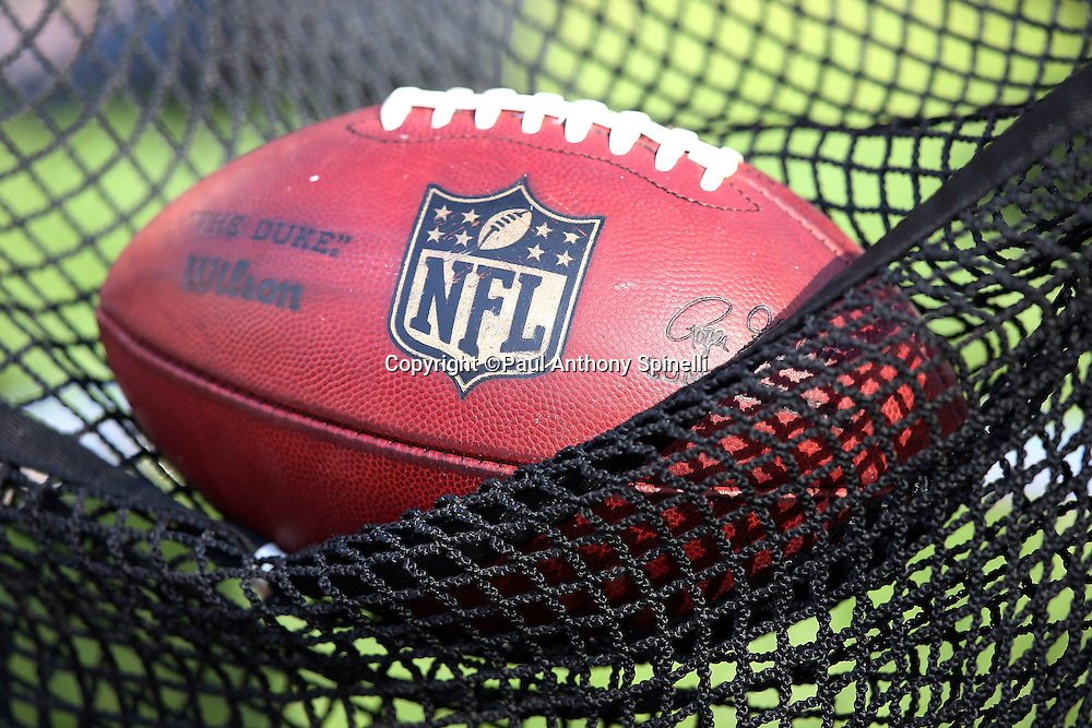 An NFL football sits in a kicking net during the Cleveland Browns 2015 week 8 regular season NFL football game against the Arizona Cardinals on Sunday, Nov. 1, 2015 in Cleveland. The Cardinals won the game 34-20. (©Paul Anthony Spinelli)