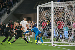 November 1, 2018 - Los Angeles, California, U.S - Goalie, Alex Horwath #1 of the Real Salt Lake is unable to stop the ball during their MLS playoff game with the LAFC on Thursday November 1, 2018 at Banc of California Stadium in Los Angeles, California. LAFC vs Real Salt Lake. (Credit Image: © Prensa Internacional via ZUMA Wire)