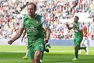 EINDHOVEN, PSV - Feyenoord, voetbal Eredivisie, seizoen 2013-2014, 13-04-2014, Philips Stadion, Feyenoord speler Joris Mathijsen (L) heeft de 0-1 gescoord.