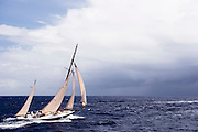 Kate sailing in the Antigua Classic Yacht Regatta, Old Road Race.