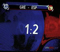 GEPA-1806086873 - SALZBURG,AUSTRIA,18.JUN.08 - FUSSBALL - UEFA Europameisterschaft, EURO 2008, Griechenland vs Spanien, GRE vs ESP. Bild zeigt eine Anzeigentafel.<br />Foto: GEPA pictures/ Felix Roittner