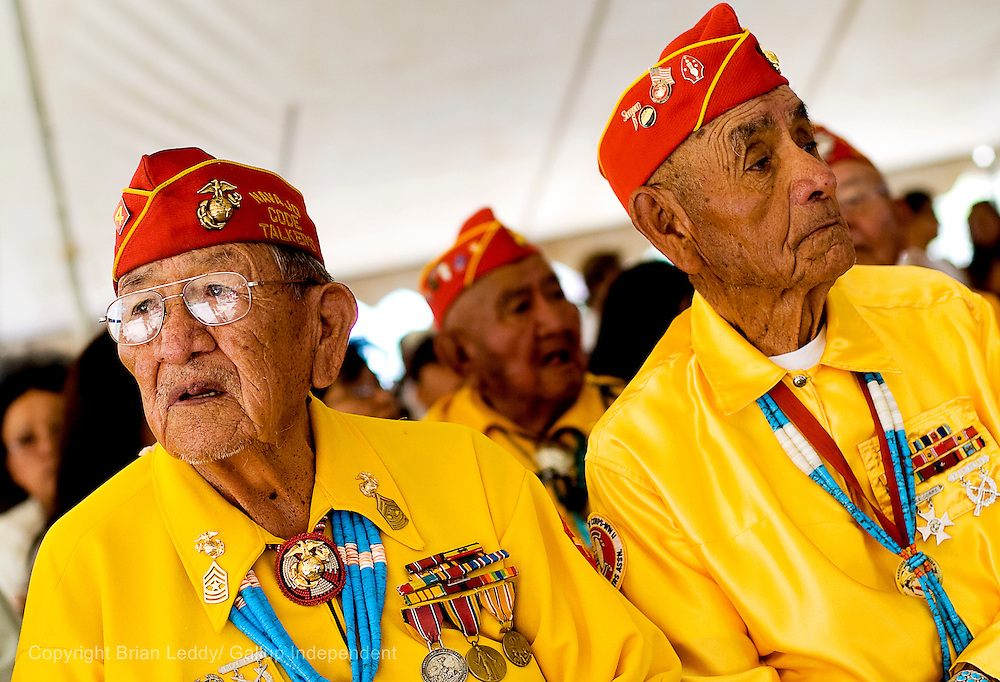 081408      Brian Leddy.Navajo Code Talkers Dan Akee and George Willie wait for services to start at the Navajo Code Talker Day festivities in Window Rock.