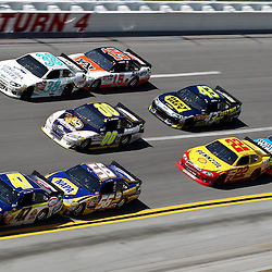 April 17, 2011; Talladega, AL, USA; NASCAR Sprint Cup Series driver Kasey Kahne (4) leads a pack of cars during the Aarons 499 at Talladega Superspeedway.   Mandatory Credit: Derick E. Hingle