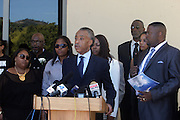 June 30, 2012, Los Angeles, CA: (L-R) Candice King, Tristain King, Dene King along with Rev. Al Sharpton, President, National Action Network attend the Rodney King Funeral held at Forest Lawn Cemetery at Hall Liberty on June 30, 2012 in Los Angeles, California. Rodney Glen King was an American construction worker who became well known after being beaten harshly by Los Angeles police officers during a traffic stop on 3 March 1991. The non-gulity verdict of accused Police Officers ignited the LA Riots in 1992. (Photo by Terrence Jennings)
