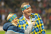 Scotland legend, Doddie Weir is interviewed at half time during the Autumn Test match between Scotland and South Africa at the BT Murrayfield Stadium, Edinburgh, Scotland on 17 November 2018.