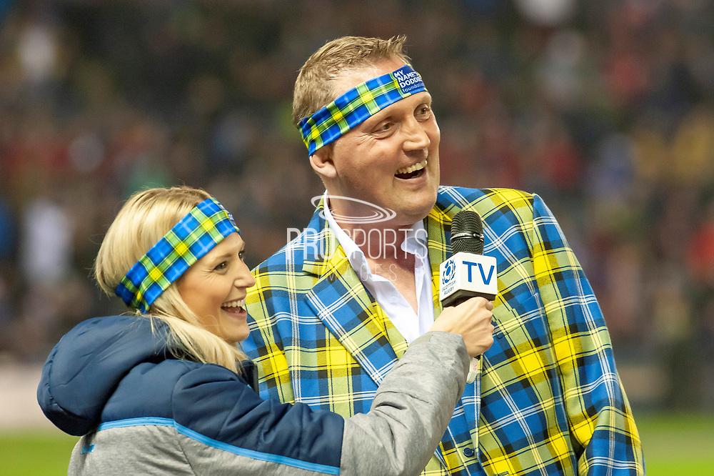 Scotland legend, Doddie Weir is interviewed at half time during the Autumn Test match between Scotland and South Africa at the BT Murrayfield Stadium, Edinburgh, Scotland on 17 November 2018.