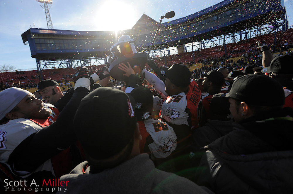 The Las Vegas Locomotives celebrate their 23-20 win over the Florida Tuskers  in the United Football League championship game at Rosenblatt Stadium on Nov. 27, 2010 in Omaha, Nebraska. The Locos won the game 23-20..©2010 Scott A. Miller