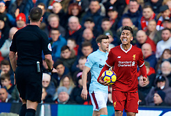 LIVERPOOL, ENGLAND - Saturday, February 24, 2018: Liverpool's Roberto Firmino reacts during the FA Premier League match between Liverpool FC and West Ham United FC at Anfield. (Pic by David Rawcliffe/Propaganda)