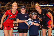 Future Captains Alex Fissenden and Ashley Young with Hayley Saunders of the Tactix and Casey Kopua of the Magic during the ANZ Netball Premiership match, Tactix v Magic, Horncastle Arena, Christchurch, New Zealand, 23rd April 2017.Copyright photo: John Davidson / www.photosport.nz