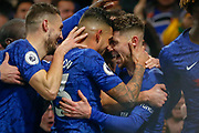 GOAL PENALTY 1-0 Chelsea midfielder Jorginho (5) scores and celebrates with Chelsea defender Emerson Palmieri (33) during the Premier League match between Chelsea and Arsenal at Stamford Bridge, London, England on 21 January 2020.