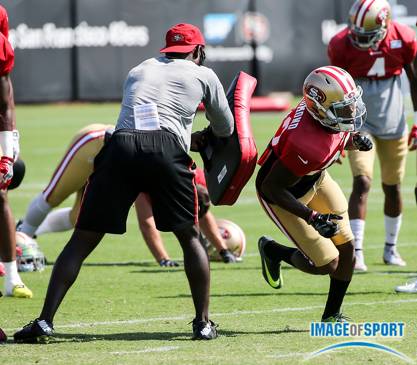 August 8, 2017; Santa Clara, CA, USA; San Francisco 49ers cornerback Will Redmond (23) performs drills at training camp at the SAP Performance  Facility.