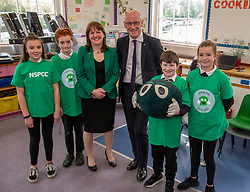 Pictured: Maree Todd and John Swinney studenst from Royal High Primary School<br /><br />Deputy First Minister John Swinney and minister for children and young people Maree Todd, joined students from Primary 7 of the Royal High Primary School in Edinburgh today at attend child safety assembly. <br /><br />Ger Harley | EEm 9 May 2019