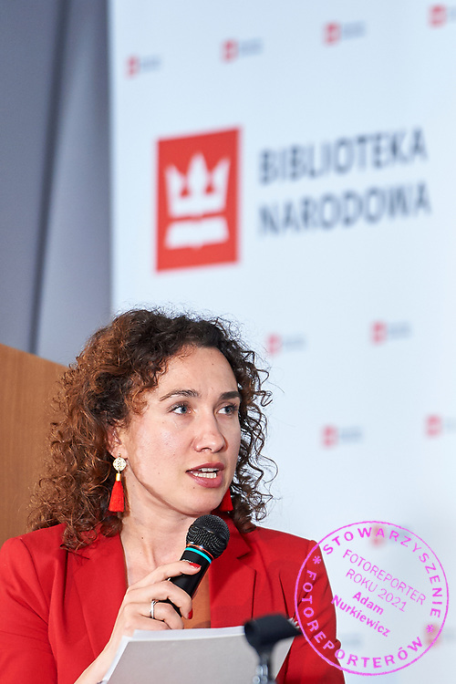 Warsaw, Poland - 2017 April 07: Magdalena Petryniak - President of Story Seekers Polska speaks during The Day of Health - science conference in the National Library on April 07, 2017 in Warsaw, Poland.<br /> <br /> Mandatory credit:<br /> Photo by © © Adam Nurkiewicz / Mediasport / Mediasport<br /> <br /> Picture also available in RAW (NEF) or TIFF format on special request.<br /> <br /> Any editorial, commercial or promotional use requires written permission from the author of image.<br /> <br /> Adam Nurkiewicz declares that he has no rights to the image of people at the photographs of his authorship.