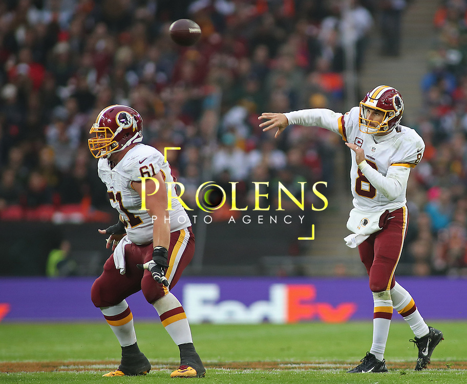 NFL International Series 2016 Washington Redskins @ Cincinnati Bengals 30th OCT 2016<br /> <br /> Washington Redskins Quarterback Kirk Cousins (8) throws the ball  during game 17 of the NFL International Series between the  Washington Redskins and Cincinnati Bengals, From Wembley Stadium, London.<br /> <br /> Pic Micthell Gunn / PLPA? ProLens Photo Agency.<br /> Sunday 30 October 2016