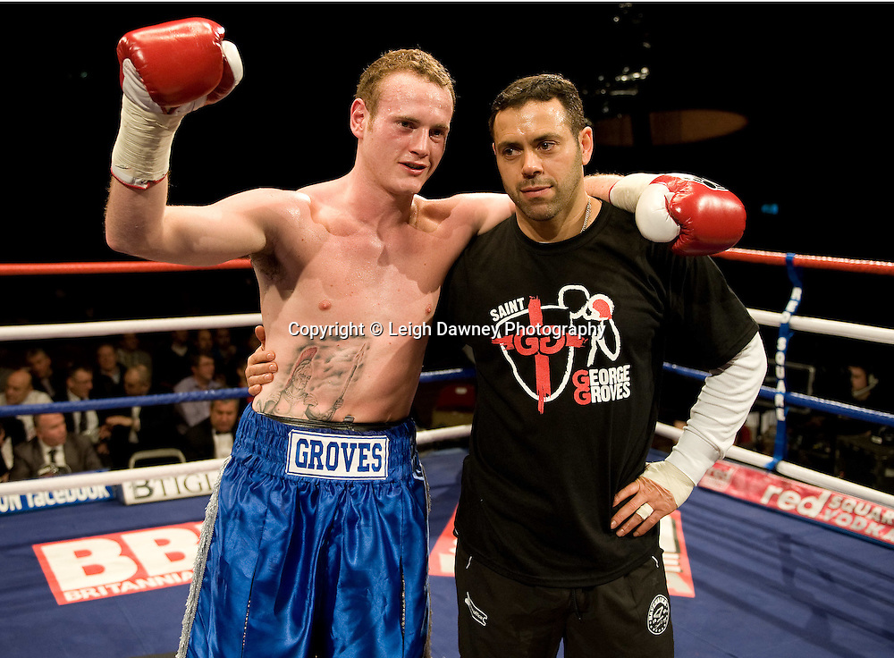 George Groves with trainer Adam Booth at Brentwood Centre 22nd January 2010, Frank Maloney Promotions,Credit: © Leigh Dawney Photography