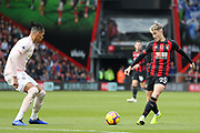 David Brooks (20) of AFC Bournemouth takes on Manchester United Defender Chris Smalling during the Premier League match between Bournemouth and Manchester United at the Vitality Stadium, Bournemouth, England on 3 November 2018.