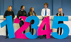 Pictured: School pupils demonstrate STV Voting , 03 April 2019. 5th and 6th school pupils who are eligible to vote in local Scottish elections help raise awareness of the forthcoming Leith Walk By-election on April 11th. They show that voting will be as easy as 1, 2, 3 and demonstrate the single transferable vote (STV) system being used in the by-election with a set of giant numbers. 1: Lucja Zembrzuska, age 16 years<br /> 2: Megan Natta, age 18 years<br /> 3: Angel Douglas, age 17 years<br /> 4: Daniel Farrow, age 17 years<br /> 5: Neva Houston, age 17 years<br /> <br /> Sally Anderson | EdinburghElitemedia.co.uk