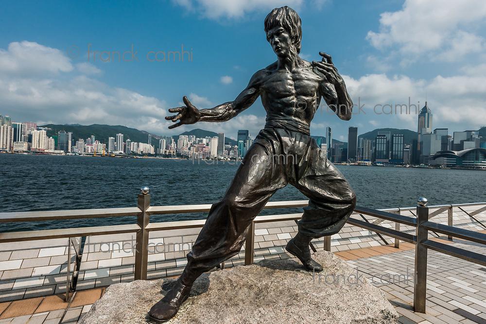 Bruce Lee statue Avenue of Stars Tsim Sha Tsui Kowloon in Hong Kong