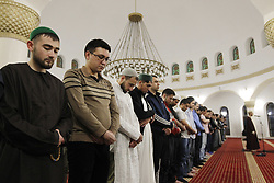 May 5, 2019 - Kiev, Ukraine - Ukrainian muslims are seen performing the tarawih prayers during the first night of the Ramadan holy month of 2019 at the Ar-Rahma Mosque in Kiev, Ukraine. Muslims are required not to eat, drink, and have sex from dawn to dusk during the month of Ramadan. (Credit Image: © Pavlo Gonchar/SOPA Images via ZUMA Wire)