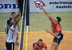 Israel Jose Dos Santos vs Davor Cebron at last final volleyball match of 1.DOL Radenska Classic between OK ACH Volley and Salonit Anhovo, on April 21, 2009, in Arena SGS Radovljica, Slovenia. ACH Volley won the match 3:0 and became Slovenian Champion. (Photo by Vid Ponikvar / Sportida)