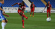 Lewis Young trying from distance during the Capital One Cup match between Peterborough United and Crawley Town at London Road, Peterborough, England on 11 August 2015. Photo by Michael Hulf.