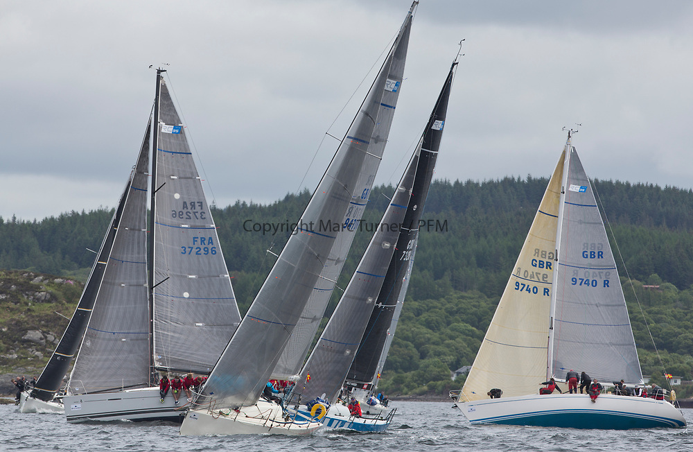 Silvers Marine Scottish Series 2017<br /> Tarbert Loch Fyne - Sailing Day 3<br /> <br /> RC35 Fleet upwind, GBR9470R, Banshee, Charlie Frize, CCC, Corby 33, GBR9740R, Sloop John T, Iain &amp; Graham Thomson, CCC, Swan 40, FRA37296, Triple Elf, Christine Murray, CCC/Fairlie YC, Beneteau First 35