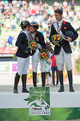 Podium Eventing 1. Sandra Auffarth and Opgun Louvo, Michael Jung and Fischerrocana FST, 3. William Fox Pitt and Chilli Morning - Alltech FEI World Equestrian Games™ 2014 - Normandy, France.<br /> © Hippo Foto Team - Jon Stroud<br /> 31-08-14
