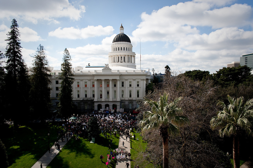 Thousands of students, parents, children, and activists rally at the State Capitol today on March 4, 2010 to protest against educational budget cut proposed by California Governor Arnold  Schwarzenegger.