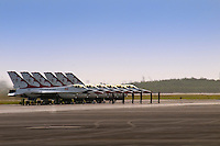 HOMESTEAD, FL - NOVEMBER 8, 2009: Thunderbirds Pilots preparing for demosntration of their F-16 jets on tarmac at Wings over Homestead
