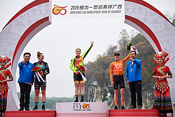 Top three: Chloe Hosking (AUS), Alison Jackson (CAN) and Marianne Vos (NED) at GREE Tour of Guangxi Women's WorldTour 2019 a 145.8 km road race in Guilin, China on October 22, 2019. Photo by Sean Robinson/velofocus.com