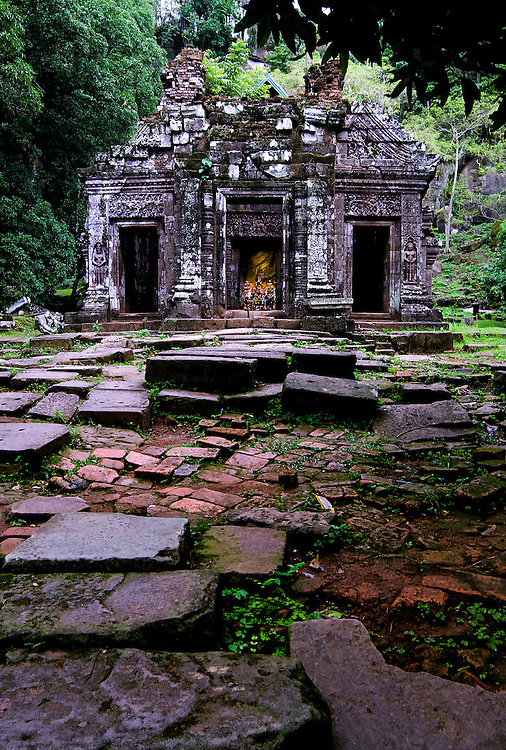 One of the ruins that was a part of Angkor Wat being originally Hindu and later converted to Budhist in the Wat Phu site in Champasak, Laos.