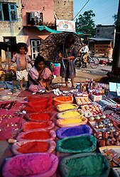 NEPAL KATHMANDU APR95 - Market stall offering various dyes outside Kathmandu's Pashupatinath temple compound. Nepal is the only Hindu kingdom in the world. <br />