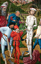 The Martyrdom of St Sebastian medieval painting at Wallraf Richartz museum in Cologne Germany