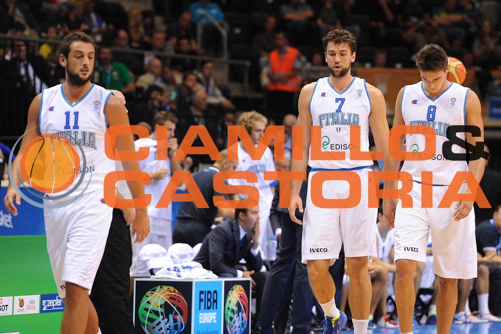 DESCRIZIONE : Siauliai Lithuania Lituania Eurobasket Men 2011 Preliminary Round Italia Francia Italy France<br /> GIOCATORE : Andrea Bargnani Marco Belinelli<br /> CATEGORIA : Delusione<br /> SQUADRA : Italia Francia Italy France<br /> EVENTO : Eurobasket Men 2011<br /> GARA : Italia Francia Italy France<br /> DATA : 04/09/2011 <br /> SPORT : Pallacanestro <br /> AUTORE : Agenzia Ciamillo-Castoria/GiulioCiamillo<br /> Galleria : Eurobasket Men 2011 <br /> Fotonotizia : Siauliai Lithuania Lituania Eurobasket Men 2011 Preliminary Round Italia Francia Italy France<br /> Predefinita :