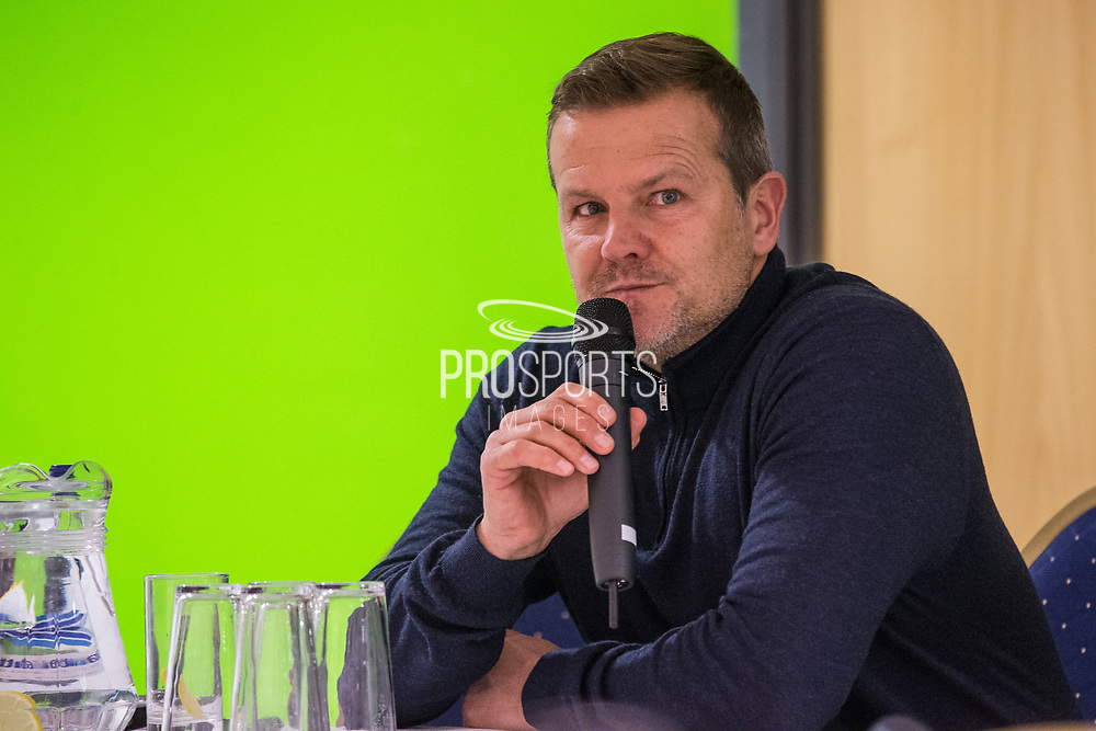 Forest Green Rovers first team manager Mark Cooper during the 2018 Fans Forum for Forest Green Rovers at the New Lawn, Forest Green, United Kingdom on 30 October 2018.