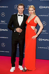 German racing driver Maro Engel (L) poses with his wife Stefanieon along the red carpet of the Laureus Sports Awards 2019 ceremony at the Sporting Monte-Carlo in Monaco on February 18, 2019. Photo by Marco Piovanotto/ABACAPRESS.COM