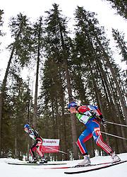 23.01.2011, Südtirol Arena, Antholz, ITA, IBU Biathlon Worldcup, Antholz, Mass Start Women, im Bild Miriam Gössner (GER), Iana Romanova (RUS) // Miriam Gössner (GER), Iana Romanova (RUS) during IBU Biathlon World Cup in Antholz, Italy, EXPA Pictures © 2011, PhotoCredit: EXPA/ J. Feichter