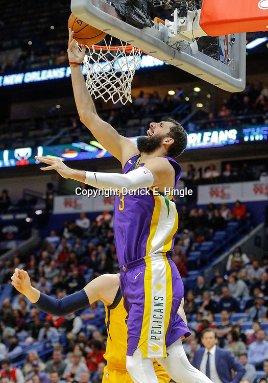 Feb 5, 2018; New Orleans, LA, USA; New Orleans Pelicans forward Nikola Mirotic (3) shoots against the Utah Jazz during the first quarter at the Smoothie King Center. Mandatory Credit: Derick E. Hingle-USA TODAY Sports