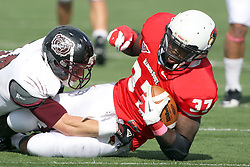 20 October 2012: A run by Darrelynn Dunn comes to an end  during an NCAA Missouri Valley Football Conference football game between the Missouri State Bears and the Illinois State Redbirds at Hancock Stadium in Normal IL