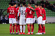MELBOURNE, AUSTRALIA - APRIL 23: Guangzhou Evergrande huddle ahead of the match during the AFC Champions League Group Stage match between Melbourne Victory and Guangzhou Evergrande at AAMI Park on April 23, 2019 in Melbourne, Australia. (Photo by Speed Media/Icon Sportswire)