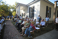 The crowd at the dedication of the LQC Lamar statue at the LQC Lamar House in Oxford, Miss. on Saturday, October 9, 2010.