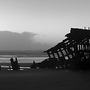 Peter Iredale Shipwreck Silhouette - Dusk - Oregon Coast - Black & White
